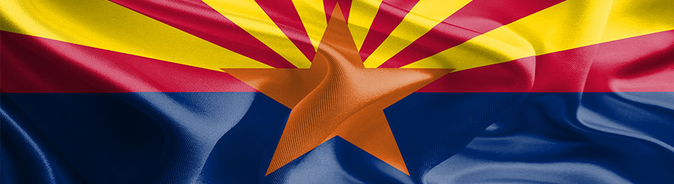 Image close-up of the Arizona flag blowing in the wind