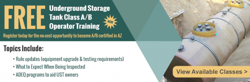 ADEQ's Free Underground Storage Tank Operator Training Available